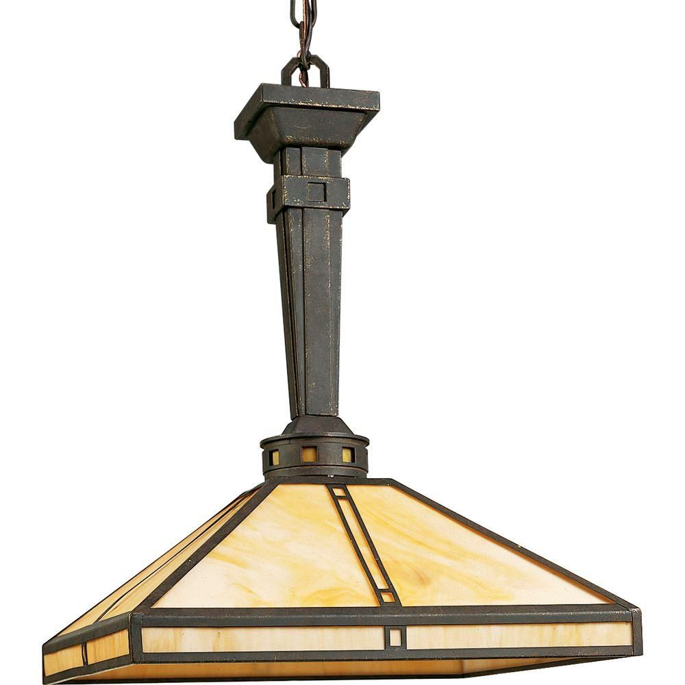 Arts and Crafts Collection Weathered Bronze 1-light Pendant