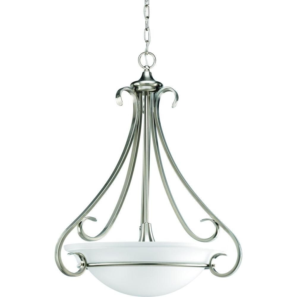 Discount Foyer Lighting : Torino collection brushed nickel light foyer pendant