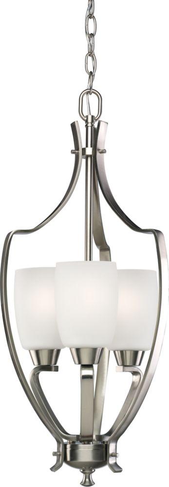 Lustre de vestibule à 3 Lumières, Collection Wisten - fini Nickel Brossé