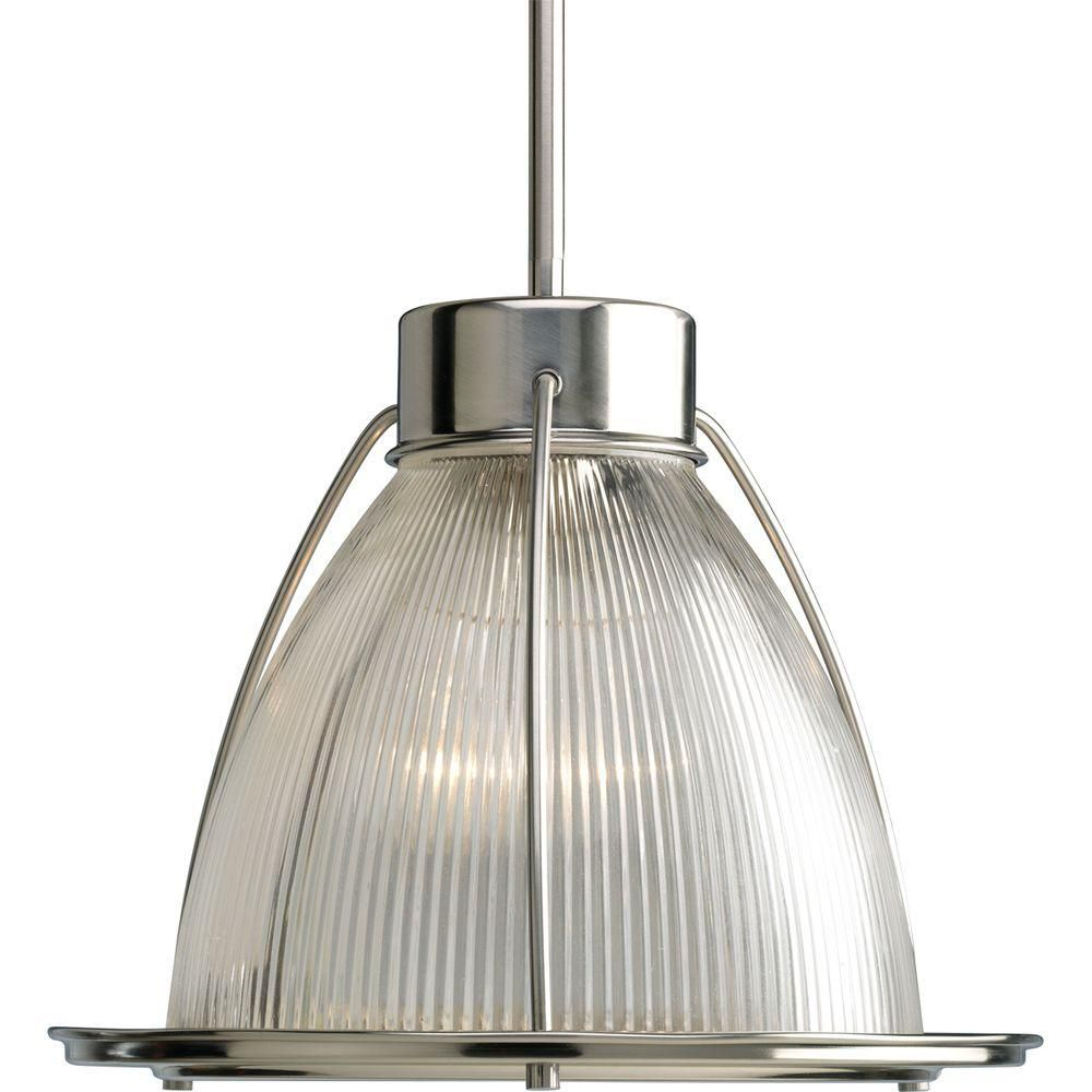 Progress Lighting 100W 1-Light Brushed Nickel Pendant with Clear Prismatic Glass