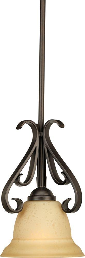 Mini suspension à 1 Lumière, Collection Torino - fini Bronze Forgé