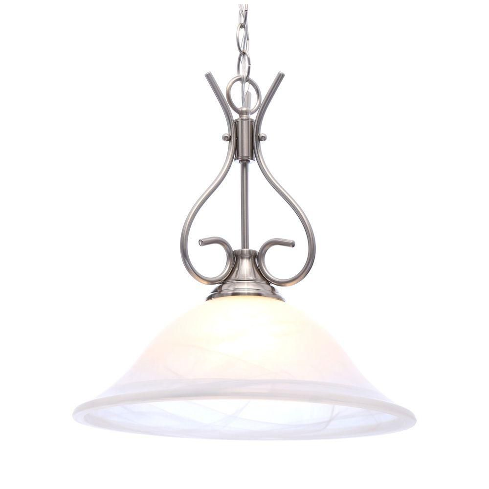 Progress Lighting 100W 1-Light Brushed Nickel Pendant with Alabaster Glass