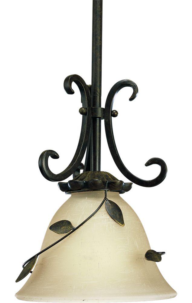 Mini suspension à 1 Lumière, Collection Eden - fini Bronze Forgé