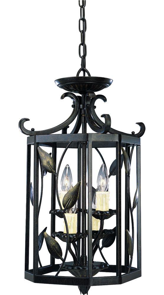 Lustre de vestibule à 4 Lumières, Collection Eden - fini Bronze Forgé