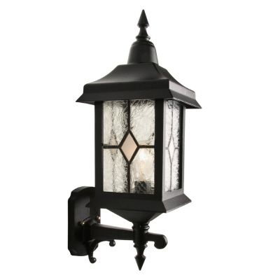 Victoria, Uplight Wall Mount, Crafted Style Glass Panels, Black