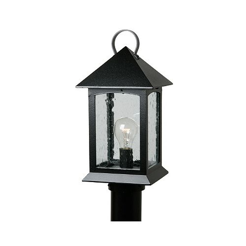 Snoc Heritage, Post Mount, Clear Seeded Glass Panels, Black (pole not included)