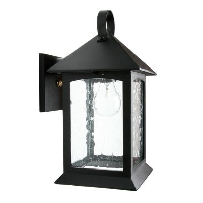 Heritage, Downlight Wall Mount, Clear Seeded Glass Panels, Black
