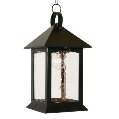 Heritage Series, Black with Clear Seeded Glass Panels, Suspended Chainmount