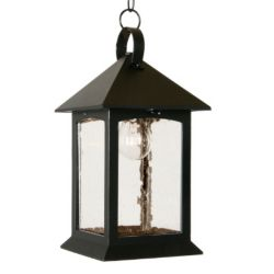 Snoc Heritage Series, Black with Clear Seeded Glass Panels, Suspended Chain Mount