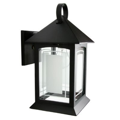 Heritage, Downlight Wall Mount, Frosted Pattern Glass Panels, Black