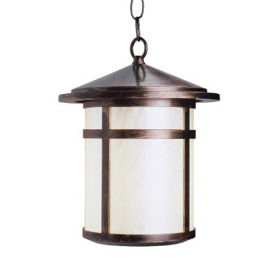 Residence Series, Antique Copper with Pearled Acrylic Diffuser, Suspended Chain Mount