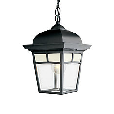 Imagine Series Black Outdoor Suspended Chain Mount Light Fixture with Frosted Pattern Glass Panels