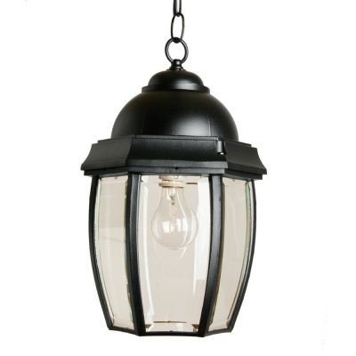 Vintage III, Large, Suspended Chain Mount Lantern, Clear beveled glass panels, Black
