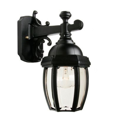 Vintage III Small, Downlight Wall mount, Clear beveled glass panels, Black