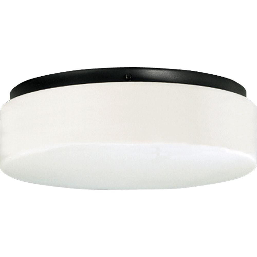 Hard-Nox Collection Black 2-light Outdoor Flushmount