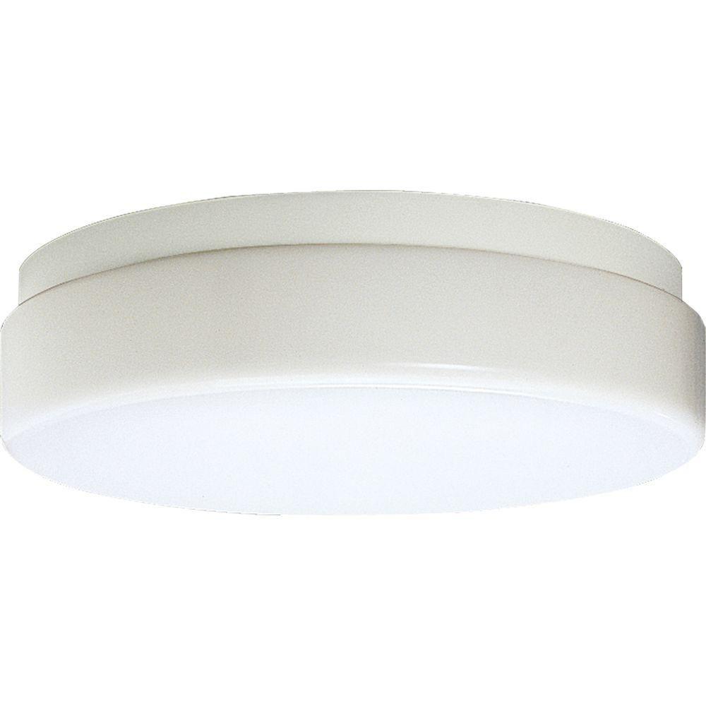 Hard-Nox Collection White 2-light Outdoor Flushmount