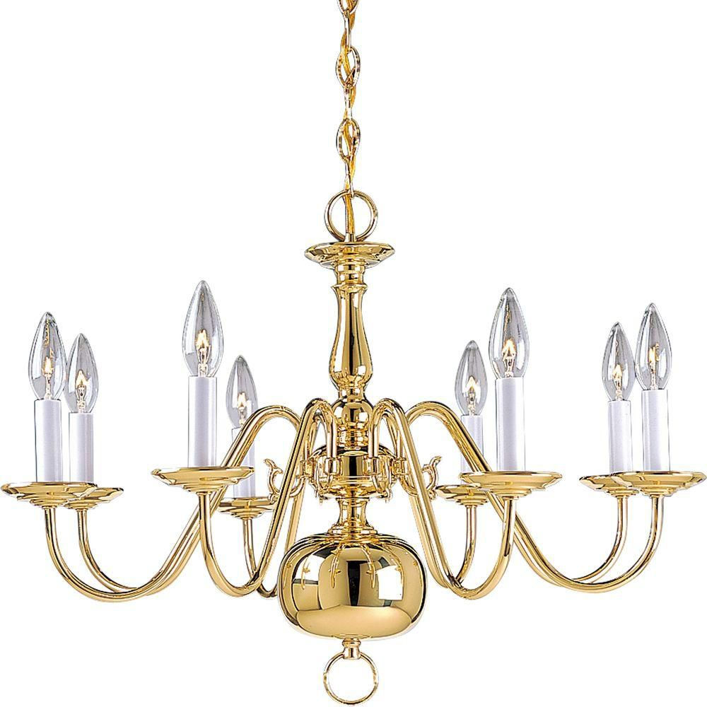 Americana Collection Polished Brass 8-light Chandelier