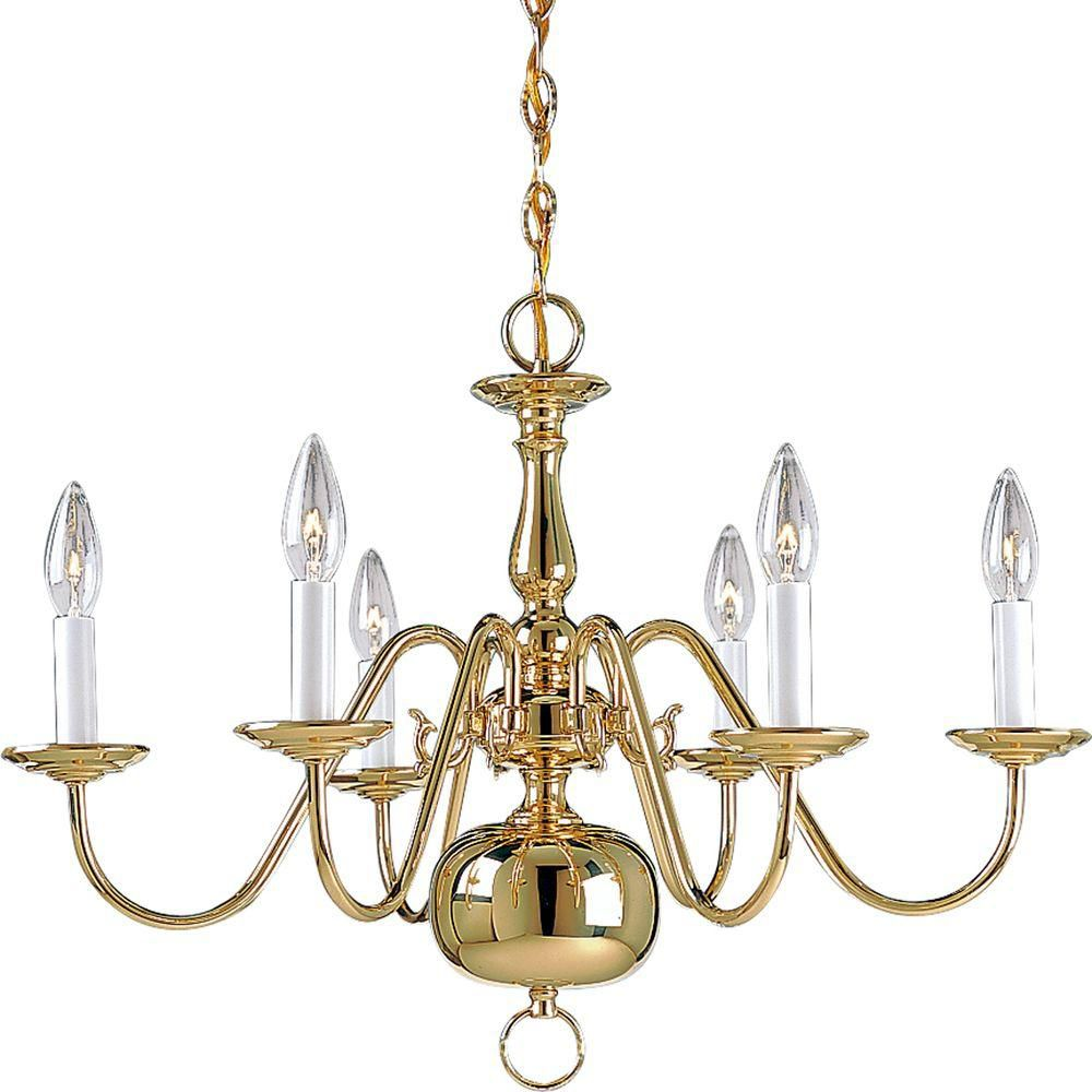 Americana Collection Polished Brass 6-light Chandelier