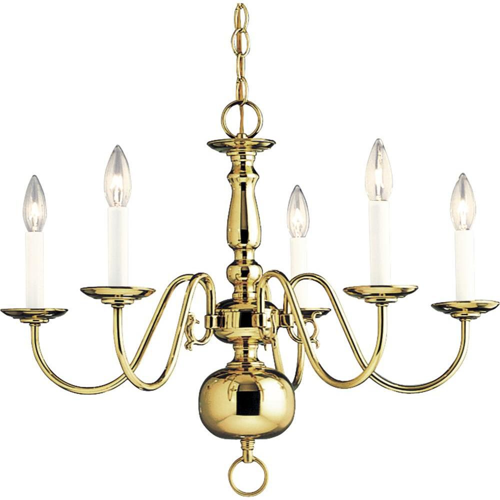 Americana Collection Polished Brass 5-light Chandelier