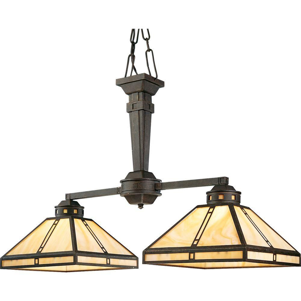 Arts and Crafts Collection Weathered Bronze 2-light Chandelier