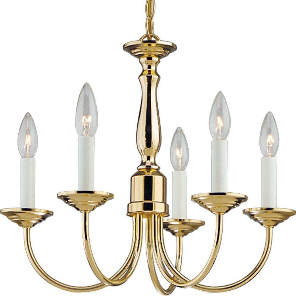Polished Brass 5-light Chandelier