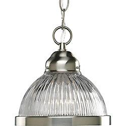 Progress Lighting 100W 1-Light Brushed Nickel Mini Pendant with Clear Prismatic Glass