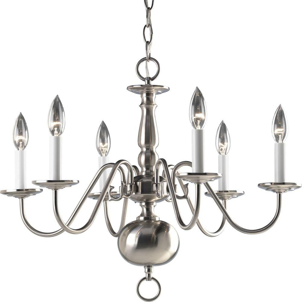 Americana Collection Brushed Nickel 6-light Chandelier