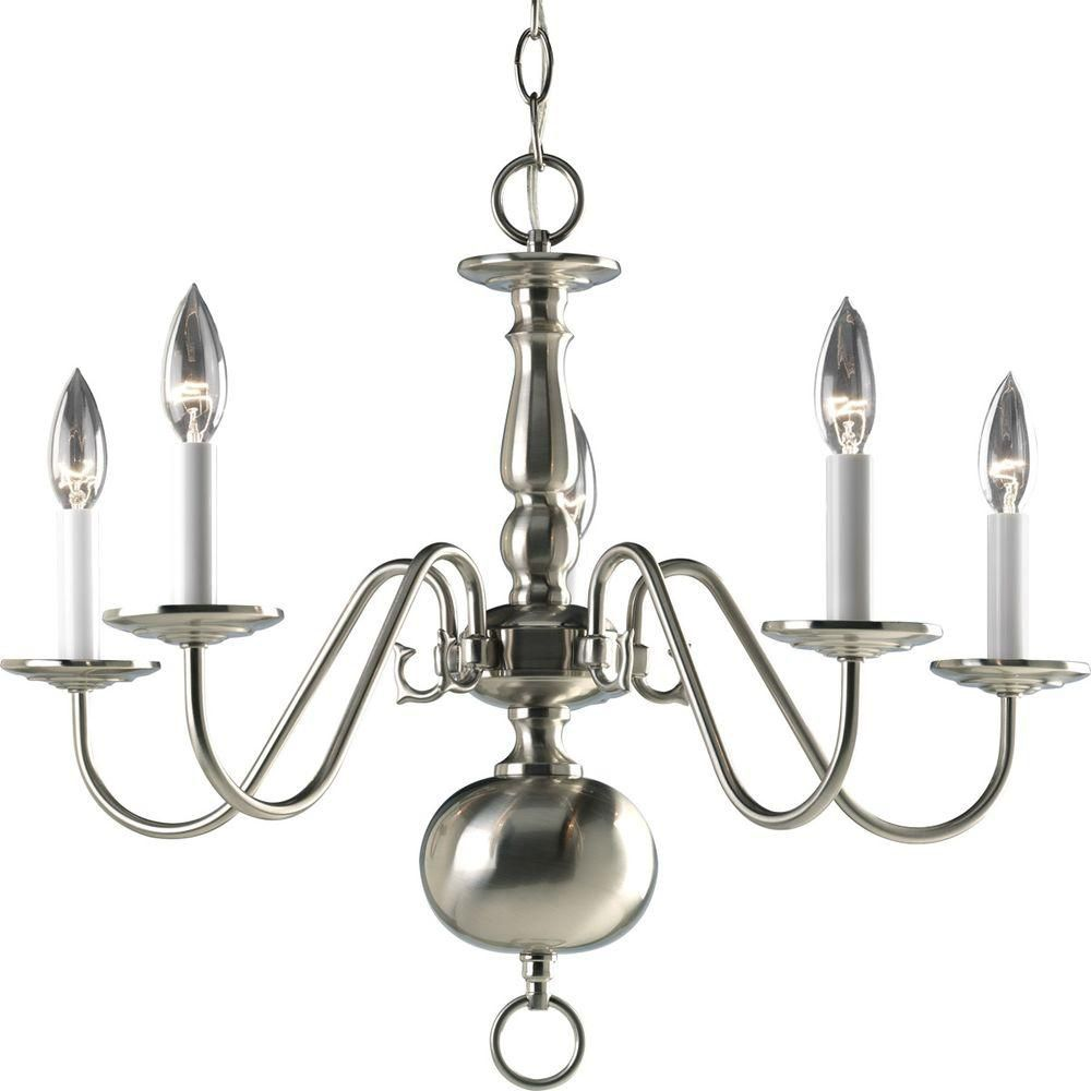 Americana Collection Brushed Nickel 5-light Chandelier