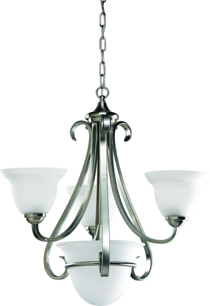 Torino Collection Brushed Nickel 3-light Chandelier