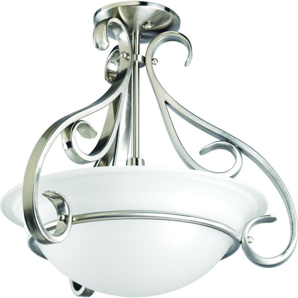 Semi-plafonnier à 3 Lumières, Collection Torino - fini Nickel Brossé