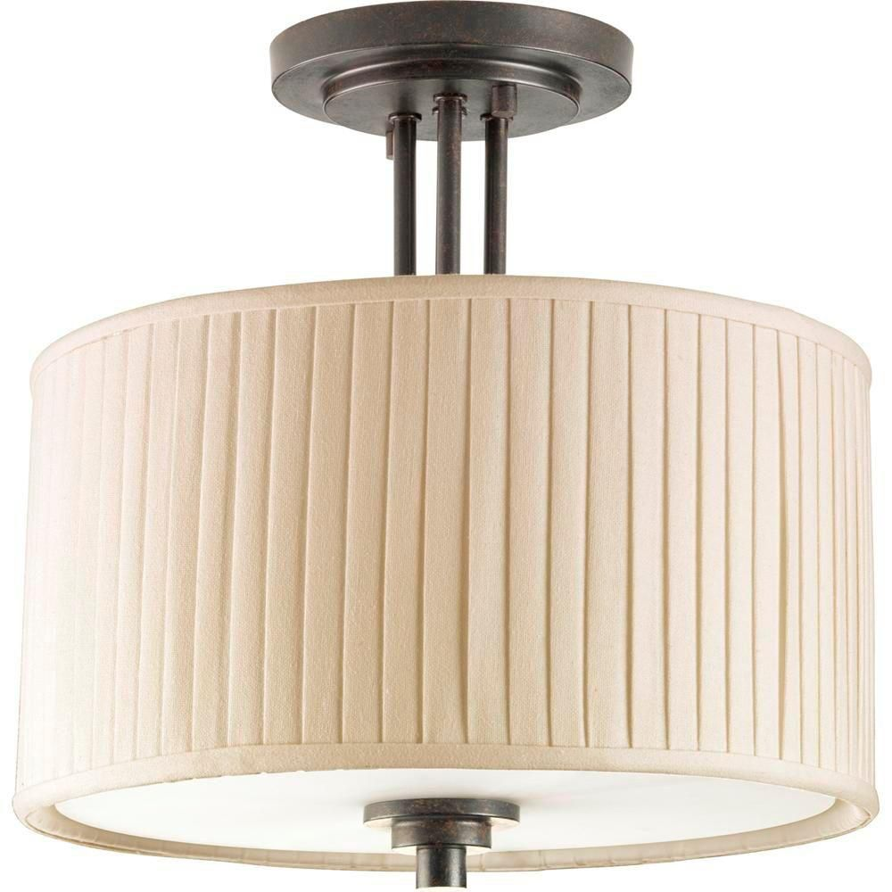 Clayton Collection Espresso 2-light Semi-flushmount