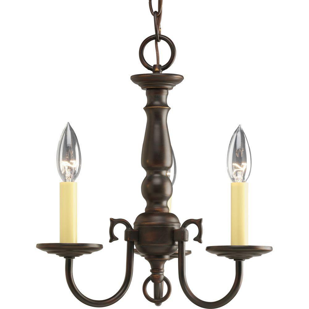 Lustre à 3 Lumières, Collection Americana - fini Bronze à l'Ancienne