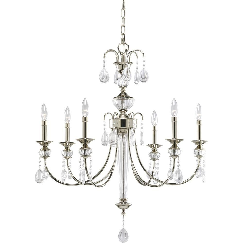 Noir Collection Polished Nickel 6-light Chandelier