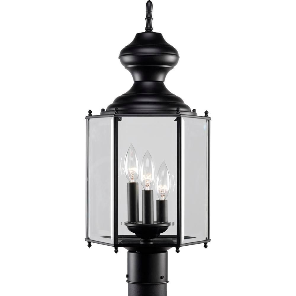 Black 3-light Post Lantern