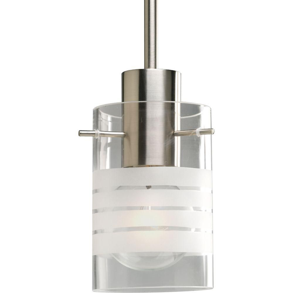 Progress lighting brushed nickel 1 light mini pendant the home depot canada - Home depot lights for kitchen ...