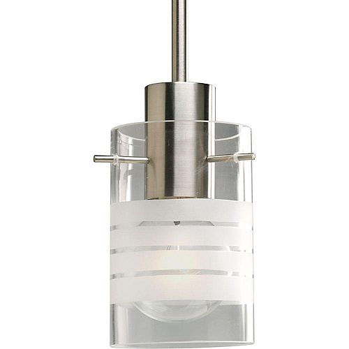 Progress Lighting 100W 1-Light Brushed Nickel Mini Pendant with Clear and Etched Glass