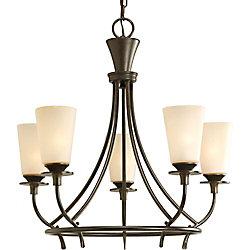 Progress Lighting Lustre à 5 Lumières, Collection Cantata - fini Bronze Forgé