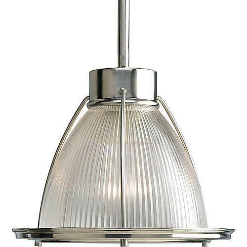 Progress lighting 100w 1 light brushed nickel mini pendant with 100w 1 light brushed nickel mini pendant with clear prismatic glass mozeypictures Image collections