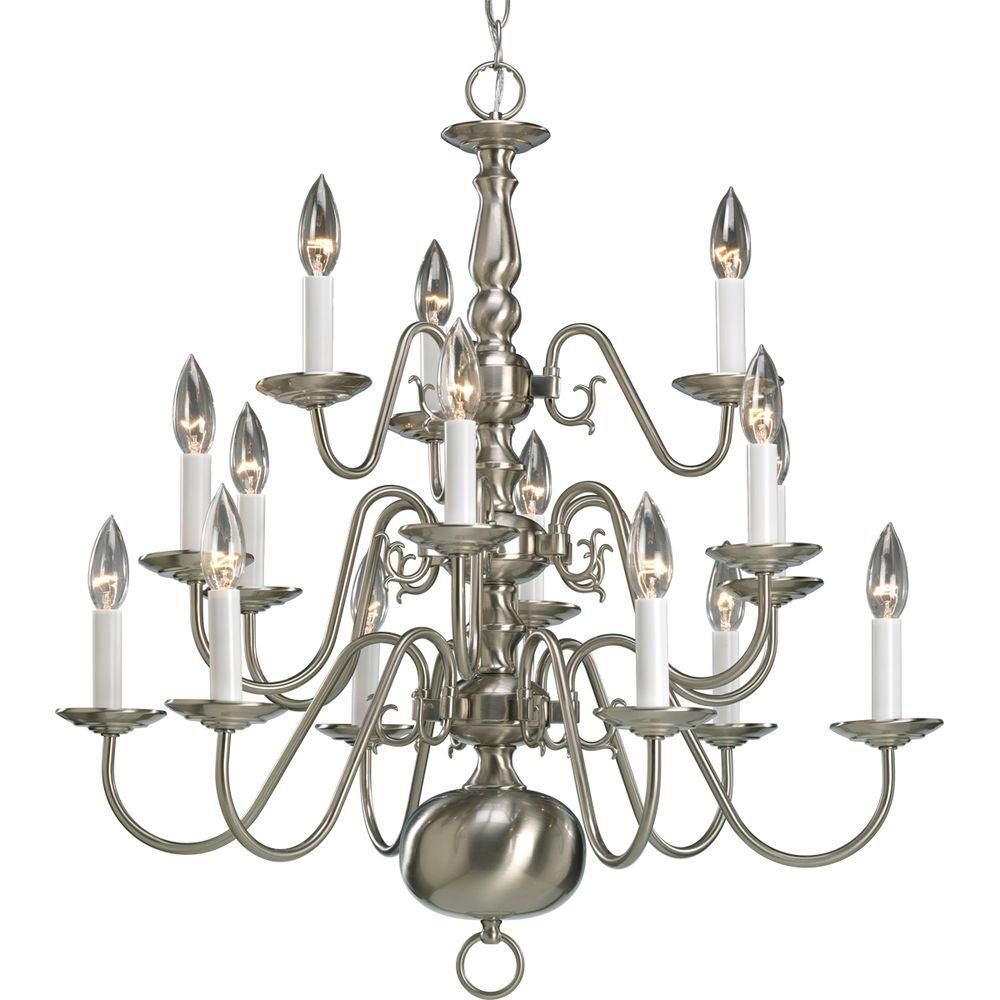 Americana Collection Brushed Nickel 15-light Chandelier