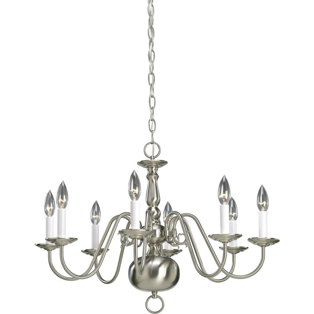 Lustre à 8 Lumières, Collection Americana - fini Nickel Brossé