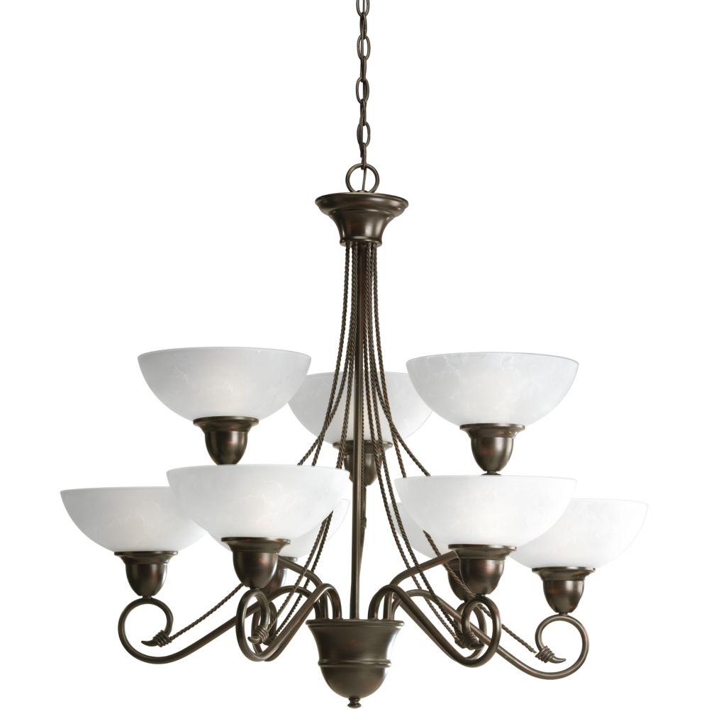 progress lighting lustre 9 lumi res collection pavilion fini bronze l 39 ancienne home. Black Bedroom Furniture Sets. Home Design Ideas