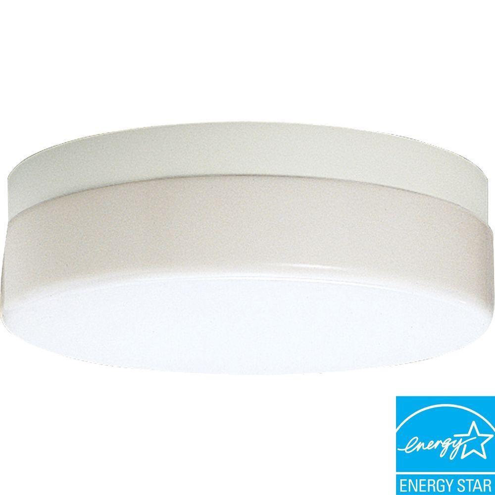Hard-Nox Collection White 1-light Outdoor Flushmount