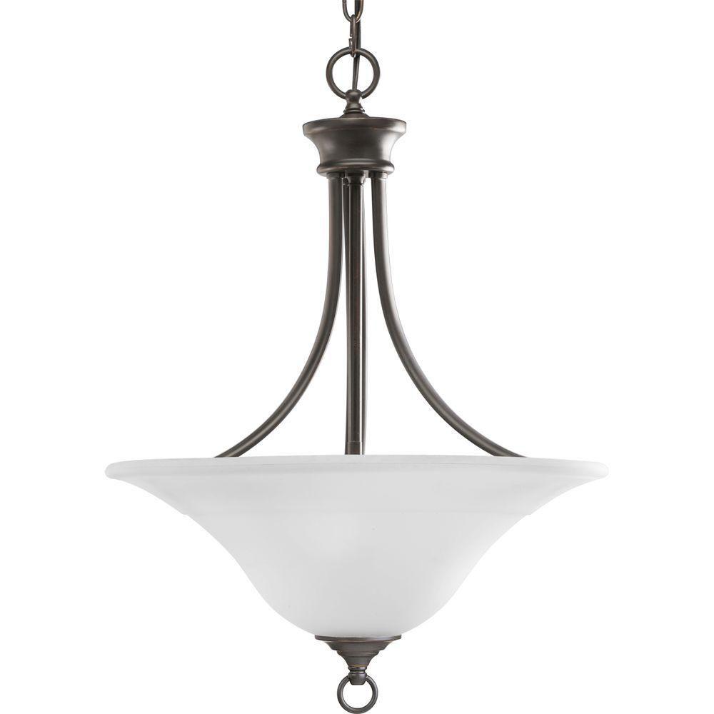 Progress Lighting Trinity 100W 3-Light Antique Bronze Chandelier with Etched Glass