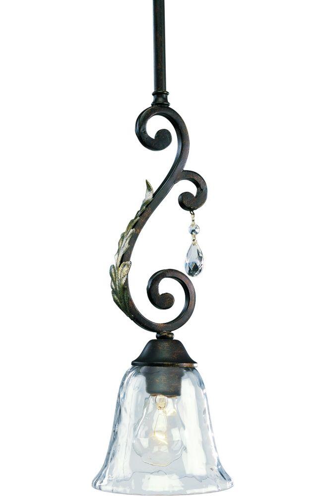 Mini suspension à 1 Lumière, Collection Savona - fini Cognac