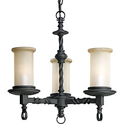 Progress Lighting Santiago Collection Forged Black 3-light Chandelier