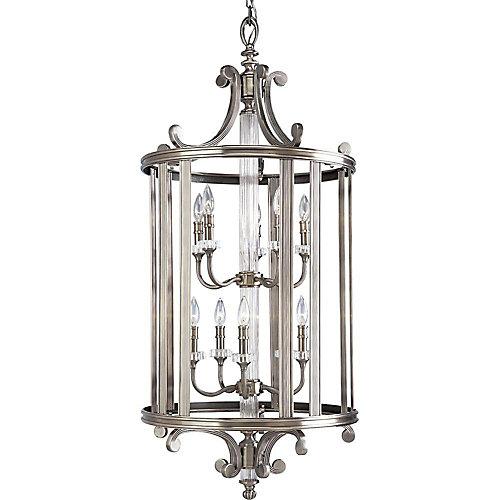 Lustre de vestibule à 10 Lumières, Collection Roxbury - fini Argent Classique
