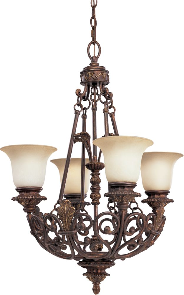 Messina Collection Aged Mahogany 4-light Chandelier