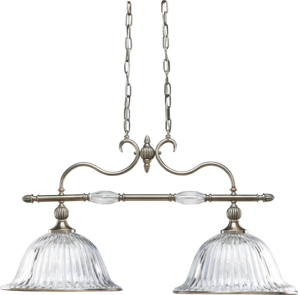 Lustre à 2 Lumières, Collection Roxbury - fini Argent Classique