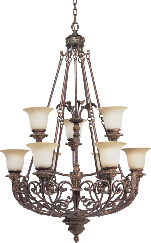 Messina Collection Aged Mahogany 9-light Chandelier