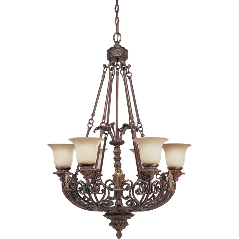 Messina Collection Aged Mahogany 6-light Chandelier